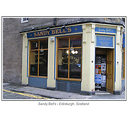 The Sandy Bell's in Edinburgh, Scotland.<br /> <br /> This print is 16 x 20 inches in size.<br /> <br /> You will have the option to purchase this print as a stand alone print, or<br /> <br /> Mounted to foamcore that is ready for matting and framing, or<br /> <br /> Mounted as a standout.<br /> The Standout is a thick lightweight board finished with a black plastic edge and comes ready to display with hanging holes on the backside.