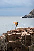 Robin de La Fuente hiking in Acadia National Park. Bar Harbor Maine.