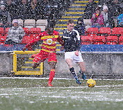 Dundee&rsquo;s Kevin Holt takes on Partick Thistle&rsquo;s David Amoo - Partick Thistle v Dundee, Ladbrokes Premiership at Firhill<br /> <br />  - &copy; David Young - www.davidyoungphoto.co.uk - email: davidyoungphoto@gmail.com