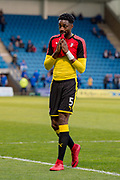 Rotherham United defender Semi Ajayi (5) after warm up session  before the  EFL Sky Bet League 1 match between Gillingham and Rotherham United at the MEMS Priestfield Stadium, Gillingham, England on 17 April 2018. Picture by Martin Cole.