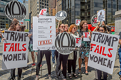 April 28, 2017 - New York, United States - The National Organization for Women - New York organized a women's rally and march;starting at Columbus Circle to mark the first 100 days of Trump's presidency and to issue an assessment of his record-to-date on women's rights. (Credit Image: © Erik Mcgregor/Pacific Press via ZUMA Wire)