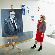 24.03.2017            <br /> Limerick Civic Trust, Marjorie Daly commissioned Jim Kemmy Portrait unveiling by Jan O'Sullivan TD at the Kemmy Business School, University of Limerick. <br /> <br /> Pictured at the event was Jan O'Sullivan, TD. Picture: Alan Place