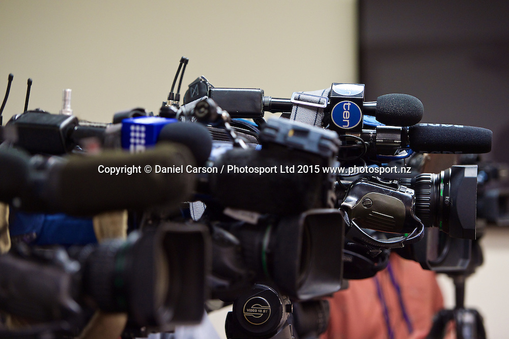 The media line up during the press conference and training session on the 12th of November 2015. The New Zealand Black Caps tour of Australia, 2nd test at the WACA ground in Perth, 13 - 17th of November 2015.   Photo: Daniel Carson / www.photosport.nz