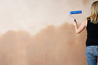 Woman painting wall with paint roller back view