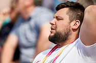 Great Britain, London - 2017 August 05: Maciej Bukowiecki trainer coach of Konrad Bukowiecki (Gwardia Szczytno) of Poland looks forward while men's shot put qualification during IAAF World Championships London 2017 Day 2 at London Stadium on August 05, 2017 in London, Great Britain.<br /> <br /> Mandatory credit:<br /> Photo by © Adam Nurkiewicz<br /> <br /> Adam Nurkiewicz declares that he has no rights to the image of people at the photographs of his authorship.<br /> <br /> Picture also available in RAW (NEF) or TIFF format on special request.<br /> <br /> Any editorial, commercial or promotional use requires written permission from the author of image.