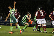 Ryan Sweeney of AFC Wimbledon see's his header go just wide during the Sky Bet League 2 match between Northampton Town and AFC Wimbledon at Sixfields Stadium, Northampton, England on 1 March 2016. Photo by Stuart Butcher.