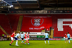 A giant Rotherham United flag in the stands - Mandatory by-line: Ryan Crockett/JMP - 16/11/2019 - FOOTBALL - Aesseal New York Stadium - Rotherham, England - Rotherham United v Accrington Stanley - Sky Bet League One
