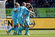 01-05-2016 VOETBAL:WILLEM II - FEYENOORDTILBURG<br /> Anas Achahbar van Feyenoord viert het doelpunt van Feyenoord met Sven van Beek en Tonny Vilhena van Feyenoord<br /> <br /> <br /> Foto: Geert van Erven