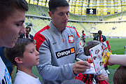 Poland's Robert Lewandowski while official training one day before international friendly match between Poland and Lithuania at PGE Arena in Gdansk, Poland.<br /> <br /> Poland, Gdansk, June 05, 2014<br /> <br /> Picture also available in RAW (NEF) or TIFF format on special request.<br /> <br /> For editorial use only. Any commercial or promotional use requires permission.<br /> <br /> Mandatory credit:<br /> Photo by &copy; Adam Nurkiewicz / Mediasport