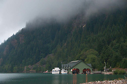 Seattle City Light Boat House on Diablo Lake, North Cascades National Park, Washington, US