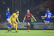 GOAL Steven Davies scores for Rochdale 2-0 during the EFL Sky Bet League 1 match between Rochdale and Shrewsbury Town at Spotland, Rochdale, England on 30 December 2016. Photo by Daniel Youngs.