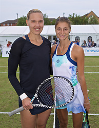 LIVERPOOL, ENGLAND - Sunday, June 23, 2019: Kaia Kanepi (EST) and Corinna Dentoni (ITA) pose for a photograph before the Ladies' Final on Day Four of the Liverpool International Tennis Tournament 2019 at the Liverpool Cricket Club. (Pic by David Rawcliffe/Propaganda)
