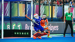 The Netherlands Jaap Stockmann saves an English penalty corner. England v Netherlands  - Unibet EuroHockey Championships, Lee Valley Hockey & Tennis Centre, London, UK on 23 August 2015. Photo: Simon Parker