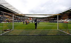 Referee Andre Marriner inspects the Hawkeye goal line technology at Hull City's KCOM Stadium ahead of the fixture with Tottenham Hotspur - Mandatory by-line: Robbie Stephenson/JMP - 21/05/2017 - FOOTBALL - KCOM Stadium - Hull, England - Hull City v Tottenham Hotspur - Premier League