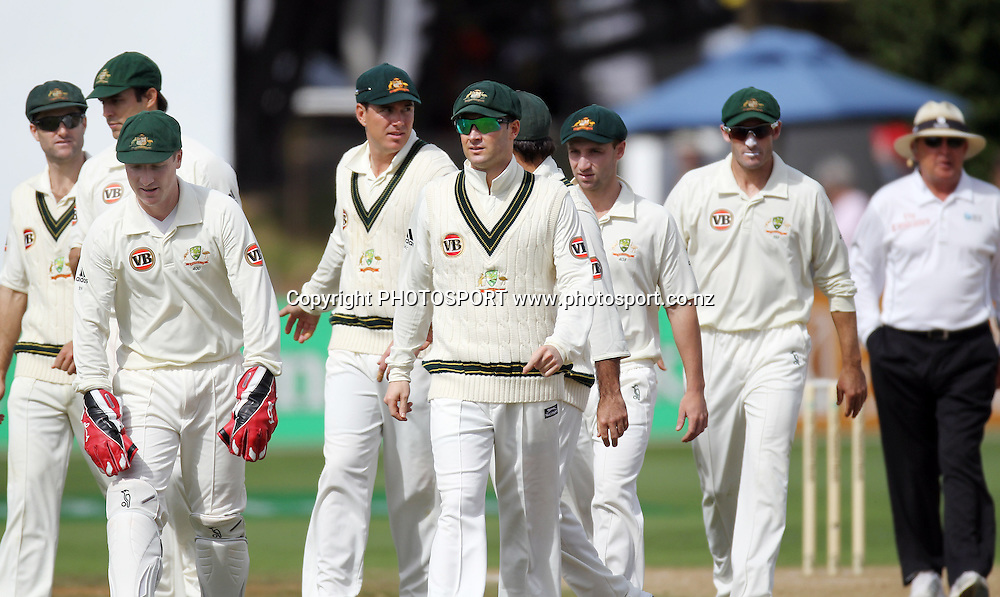 Australian players leave the field after Umpire Ian Gould gave Tim Southee out.<br />Test Match Cricket. 1st test. Day 3.<br />New Zealand Black Caps versus Australia. Basin Reserve, Wellington, New Zealand. Sunday 21 March 2010. Photo: Andrew Cornaga/PHOTOSPORT