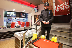 © licensed to London News Pictures. London, UK 07/02/2014. Police officers investigating the first floor of Burger King in Leicester Square in central London after a body has been found near Leicester Square on Thursday, 6 February 2014. The body is believed to be missing Irish teenager Patrick Halpin who was last seen in the area on Tuesday, 4 February 2014. Photo credit: Tolga Akmen/LNP