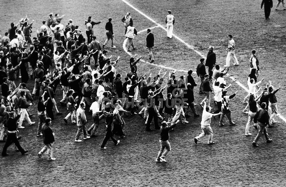 Pitch invasion, Football Supporters, Chelsea Football Club, London, U.K 1990's.
