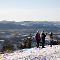 Snow and Ice, Perthshire...28.12.14<br /> A family take photographs from the top of Kinnoull Hill in Perth as the freezing conditions bite into another day..<br /> Picture by Graeme Hart.<br /> Copyright Perthshire Picture Agency<br /> Tel: 01738 623350  Mobile: 07990 594431