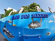 Vienna, Austria. Vienna seen through a fisheye lens. Haus des Meeres.