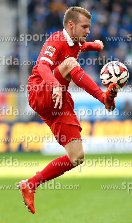 28.02.2015, Rhein Neckar Arena, Sinsheim, GER, 1. FBL, TSG 1899 Hoffenheim vs 1. FSV Mainz 05, 23. Runde, im Bild Jairo Samperio 1. FSV Mainz 05 am Ball Aktion // during the German Bundesliga 23rd round match between TSG 1899 Hoffenheim and 1. FSV Mainz 05 at the Rhein Neckar Arena in Sinsheim, Germany on 2015/02/28. EXPA Pictures &copy; 2015, PhotoCredit: EXPA/ Eibner-Pressefoto/ Weber<br /> <br /> *****ATTENTION - OUT of GER*****