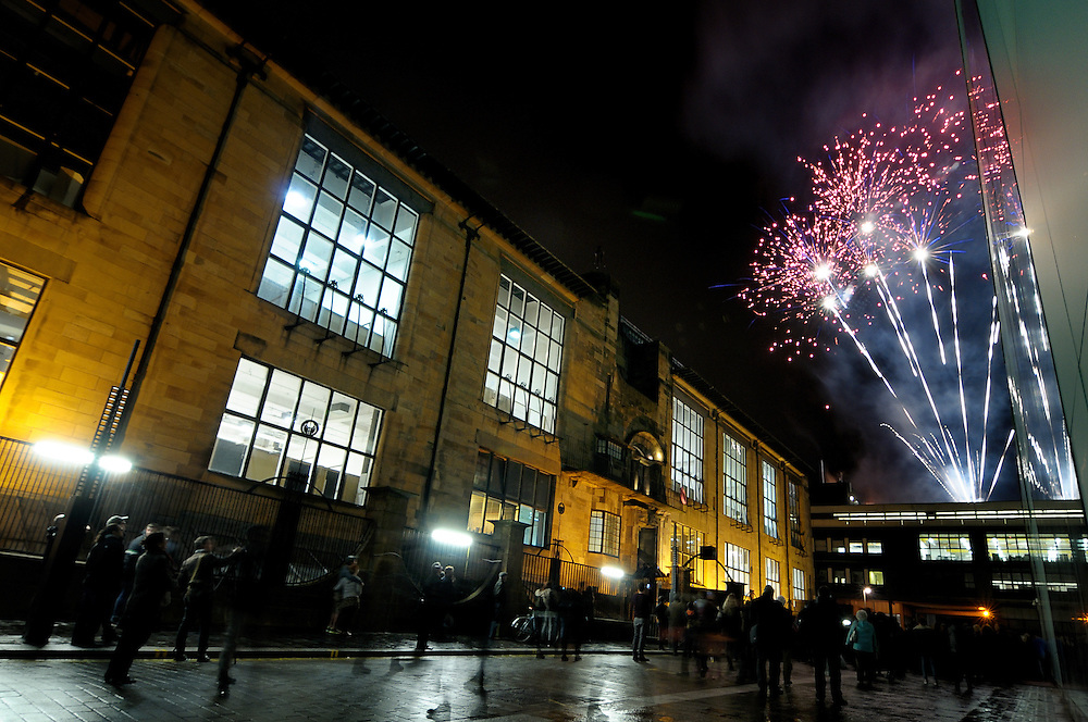 Fireworks over the Glasgow School of Art celebrating the opening of the Reid Building.