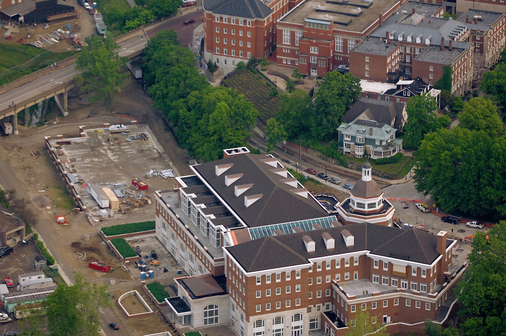 Aerial view of Baker University Center under construction. © Ohio University