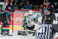 KELOWNA, CANADA - NOVEMBER 12: Ian Scott #33 of the Prince Albert Raiders makes a second period save against the Kelowna Rockets on November 12, 2016 at Prospera Place in Kelowna, British Columbia, Canada.  (Photo by Marissa Baecker/Shoot the Breeze)  *** Local Caption *** Ian Scott;