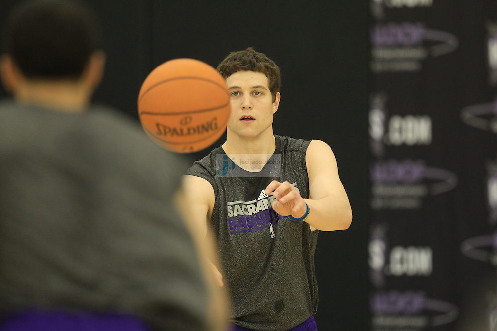 SACRAMENTO, CA - JUNE 9:   Basketball prospect Jimmer Fredette works out for the Sacramento Kings at their practice facility on June 9, 2011 in Sacramento, California. (Photo by Jed Jacobsohn)