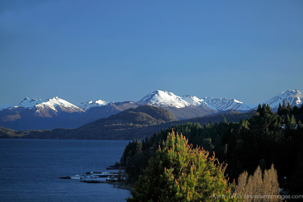 South America, Argentina, Bariloche. Nahuel Huapi and boathouse.