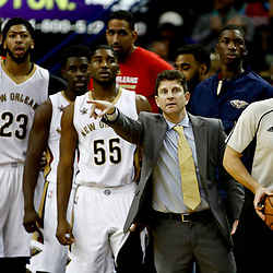 Dec 28, 2016; New Orleans, LA, USA;  New Orleans Pelicans associate head coach Darren Erman takes over for head coach Alvin Gentry (not pictured) after he was ejected during the second quarter of a game against the Los Angeles Clippers at the Smoothie King Center. Mandatory Credit: Derick E. Hingle-USA TODAY Sports
