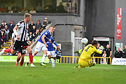 Oldham Athletic forward Sam Surridge (9) scores goal to go 0-1 during the EFL Sky Bet League 2 match between Grimsby Town FC and Oldham Athletic at Blundell Park, Grimsby, United Kingdom on 15 September 2018.