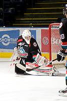 KELOWNA, CANADA, NOVEMBER 25: Adam Brown #1 of the Kelowna Rockets warms up on the ice as the Kootenay Ice visit the Kelowna Rockets  on November 25, 2011 at Prospera Place in Kelowna, British Columbia, Canada (Photo by Marissa Baecker/Shoot the Breeze) *** Local Caption *** Adam Brown;