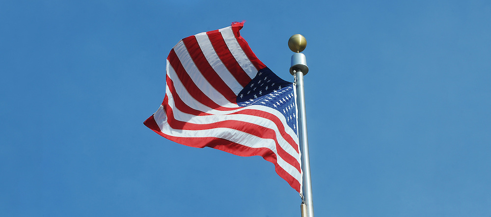 The American flag flies on during Vertrans Day actitivies on Kent State's campus.