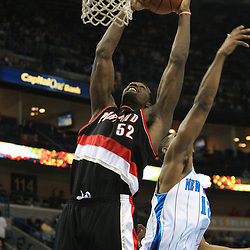 02 February 2009:  Portland Trailblazers center Greg Oden (52) grabs a rebound over New Orleans Hornets center Hilton Armstrong (12) during a 97-89 loss by the New Orleans Hornets to the Portland Trail Blazers at the New Orleans Arena in New Orleans, LA.