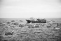CATANIA (CT) - 8 SETTEMBRE 2018: Barche in processione a mare per la festa della Madonna di Ognina, alla quale partecipa  Fabio Cantarella, il primo assessore leghista nella storia della Sicilia, a Catania  l'8 settembre 2018.
