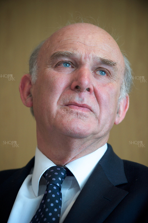 Liberal Democrat Shadow Chancellor Vince Cable, hold a Question & answer at the Sutton Chamber of Commerce, on April 20, 2010. Surry.
