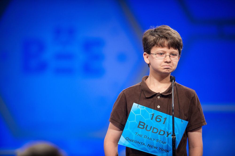 Buddy Noorlander, 14, of Oneonta, New York, participates in round two of the preliminaries of the Scripps National Spelling Bee on May 28, 2014 at the Gaylord National Resort and Convention Center in National Harbor, Maryland.