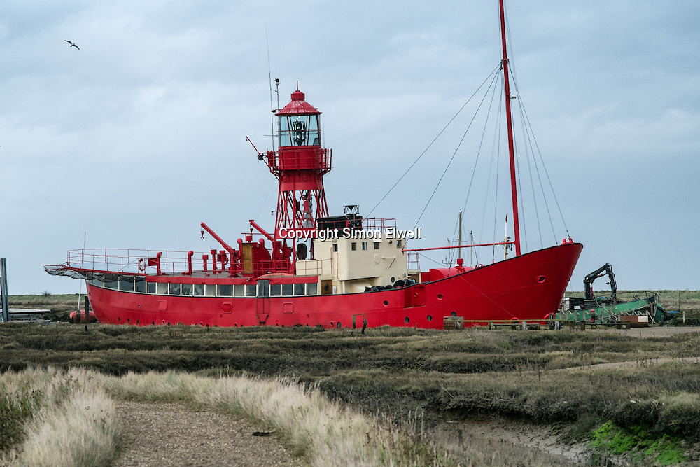 The Fellowship Afloat Lightship at Tollesbury viewed from across the saltmarsh