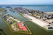 Nederland, Noord-Holland, Amsterdam, 20-04-2015; overzicht IJburg, gezien vanuit het zuidoosten, Rieteiland Oost in de voorgrond. Haveneiland met in het verschiet Grote en Kleine Rieteiland en Steigereiland. <br /> IJburg, the new urban development district of Amsterdam, overview. <br /> luchtfoto (toeslag), aerial photo (additional fee required); copyright foto/photo Siebe Swart.