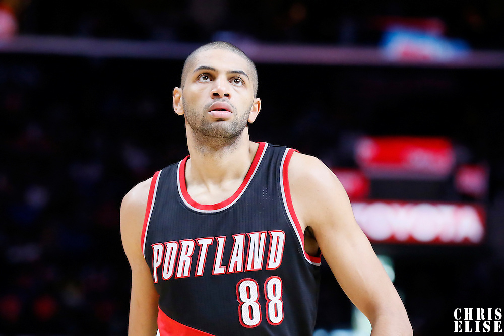 08 November 2014: Portland Trail Blazers forward Nicolas Batum (88) rests during the Los Angeles Clippers 106-102 victory over the Portland Trail Blazers, at the Staples Center, Los Angeles, California, USA.