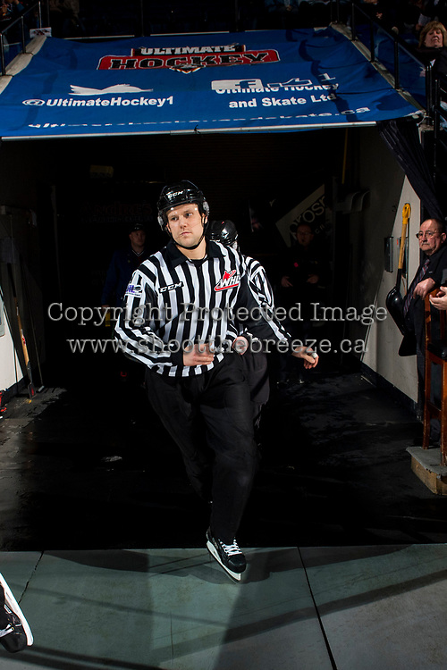 KELOWNA, CANADA - MARCH 31: Linesman Dustin Minty enters the ice at the Kelowna Rockets against the Kamloops Blazers on March 31, 2017 at Prospera Place in Kelowna, British Columbia, Canada.  (Photo by Marissa Baecker/Shoot the Breeze)  *** Local Caption ***