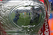 The Ladbrokes Challenge Cup presented to the fans before the Quarter Final match between Warrington Wolves and Wigan Warriors at the Halliwell Jones Stadium, Warrington.<br /> Picture by Michael Sedgwick/Focus Images Ltd +44 7900 363072<br /> 02/06/2018