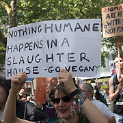 Hunderds of animals activists March to demand Close all Slaughterhouses 2018, June 9 2018 in London, UK