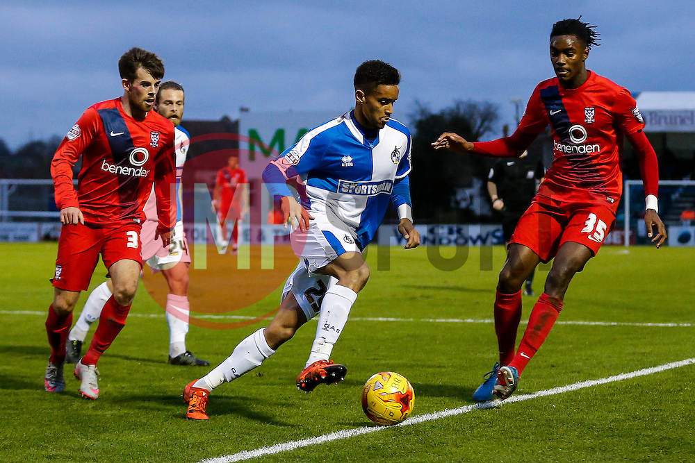 Paris Cowan-Hall of Bristol Rovers is challenged by Stefan OíConnor of York City - Mandatory byline: Rogan Thomson/JMP - 07966 386802 - 12/12/2015 - FOOTBALL - Memorial Stadium - Bristol, England - Bristol Rovers v York City - Sky Bet League 2.