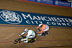 © Licensed to London News Pictures. 19/02/2011. Australian Kaarle McCulloch (88) takes on Yvonne Hijgenaar of the Netherlands in the Women's Sprint 1/8 finals. UCI Track Cycling World Cup, Manchester this evening (19/02/2011). Photo credit should read: Reuben Tabner/LNP