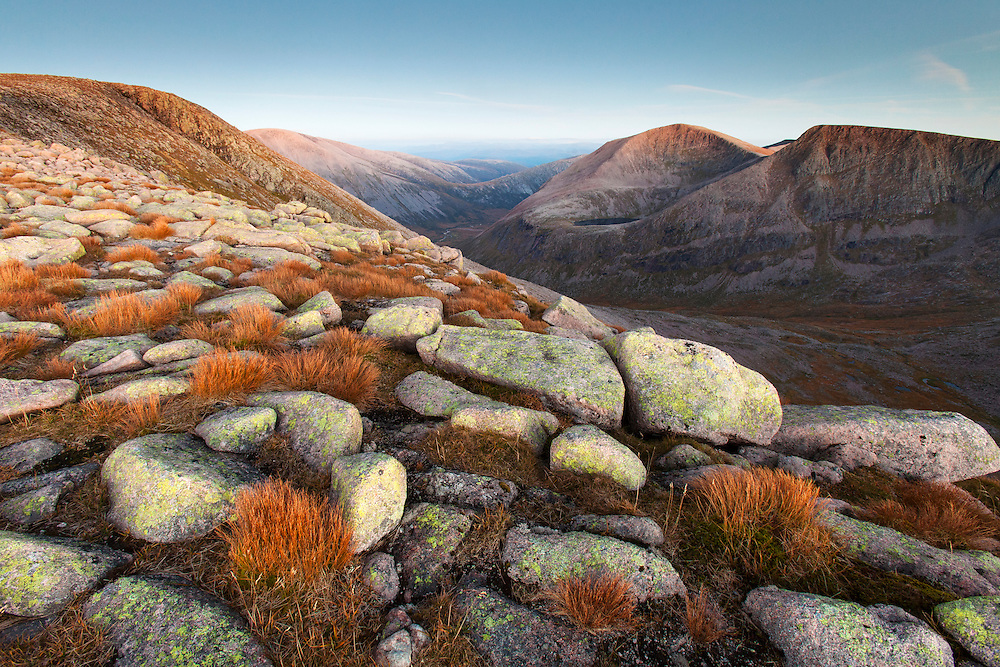 The Angel's Peak and Cairn Toul from Braeriach, Cairngorms National Park, Scotland