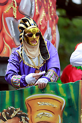 15 Feb 2015. New Orleans, Louisiana.<br /> Mardi Gras. A rider with The Krewe of Thoth rolls Uptown..<br /> Photo; Charlie Varley/varleypix.com