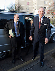 © Licensed to London News Pictures. 07/12/2011. London, UK. Entertainer Michael Barrymore (right) arriving at Ealing Magistrates Court today (07/12/2011) where he faces charges of possession of cocaine and being drunk and disorderly following an early morning car crash last month. The 59-year-old was held at 4.30am on November 22 after a Citroen DS3 hit a kerb in Acton, west London.. Photo credit: Ben Cawthra/LNP