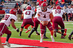 NORMAL, IL - October 13: Sam Straub and running back Chris Perkins during a college football game between the ISU (Illinois State University) Redbirds and the Southern Illinois Salukis on October 13 2018 at Hancock Stadium in Normal, IL. (Photo by Alan Look)