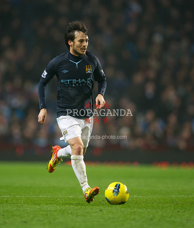 BIRMINGHAM, ENGLAND - Sunday, February 12, 2012: Manchester City's David Silva in action against Aston Villa during the Premiership match at Villa Park. (Pic by David Rawcliffe/Propaganda)